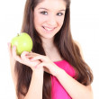 Happy girl with green apple — ストック写真