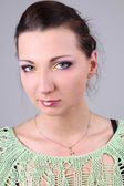 Portrait of beautiful brunette with make up — Stock Photo