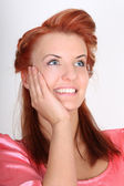Happy red-haired woman dreaming — Stock Photo
