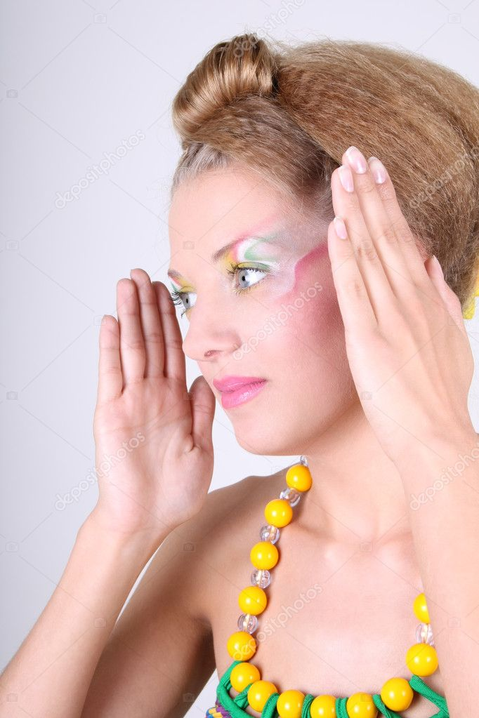 Young woman in dress with creative make-up and coiffure  Stock Photo #11839617