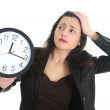 Royalty-Free Stock Photo: Shocked businesswoman with clock