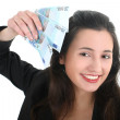 Happy businesswoman with money — Stock Photo #11840176