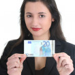 Happy businesswoman showing money — Stock Photo