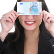Happy businesswoman with euro money — Stock Photo