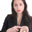 Sad business woman counts the money — Stock Photo
