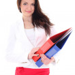 Happy brunette woman with folders — Stock Photo