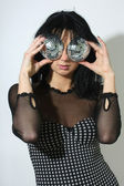 Woman with discoballs instead her eyes — Stock Photo