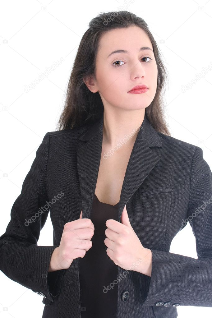 Young business woman correcting her suit over white — Stock Photo #11840319