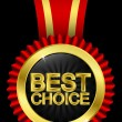 Best choice golden label with red ribbons, vector - Stock Vector
