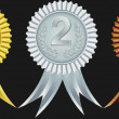 Award ribbons for first, second and third place, vector illustration — Stockvektor