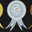 Award ribbons for first, second and third place, vector illustration — ストックベクタ