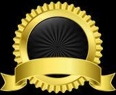 Golden label with golden ribbon, vector illustration — Stock Vector