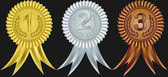 Award ribbons for first, second and third place, vector illustration — Stock Vector