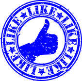 Grunge thumb up like rubber stamp, vector illustration — Stock Vector