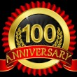100 years anniversary golden label with ribbons, vector illustration - Imagens vectoriais em stock