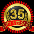 35 years anniversary golden label with ribbons, vector illustration - Stock Vector