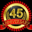 Stockvector : 45 years anniversary golden label with ribbons, vector illustration
