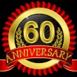 Stockvector : 60 years anniversary golden label with ribbons, vector illustration