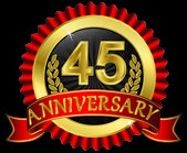 45 years anniversary golden label with ribbons, vector illustration — Vector de stock