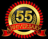 55 years anniversary golden label with ribbons, vector illustration — Wektor stockowy