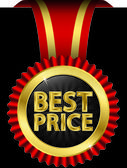 Best price golden label with ribbons, vector illustration — Stock Vector