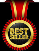 Best seller golden label with red ribbons, vector illustration — Stock Vector