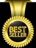 Beste verkoper gouden label met gouden linten, vectorillustratie — Stockvector