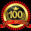 100 years happy birthday golden label with ribbons, vector illustration — Stock Vector