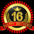 16 years happy birthday golden label with ribbons, vector illustration - Stock Vector