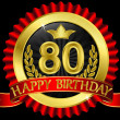 Vector de stock : 80 years happy birthday golden label with ribbons, vector illustration