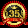 35 years happy birthday golden label with ribbons, vector illustration - Stock Vector