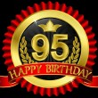 95 years happy birthday golden label with ribbons, vector illustration — Imagens vectoriais em stock