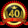 Royalty-Free Stock Vector Image: 40 years happy birthday golden label with ribbons, vector illustration