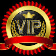 Vip golden label with diamonds and red ribbons, vector - Stock Vector