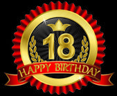 18 years happy birthday golden label with ribbons, vector illustration — Wektor stockowy