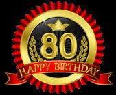 80 years happy birthday golden label with ribbons, vector illustration — Stockvector