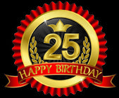 25 years happy birthday golden label with ribbons, vector illustration — Stock Vector