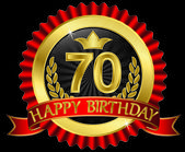 70 years happy birthday golden label with ribbons, vector illustration — Stock vektor