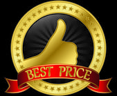 Best price golden label with red ribbon, vector illustration — Stock Vector