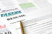 Closeup of Resume with Pen — Stock Photo