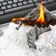 Stock Photo: Burning Rejected Business Plan