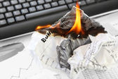 Burning Rejected Business Plan — Stock Photo