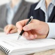 Male Hand with Pen at the Meeting — Stock Photo