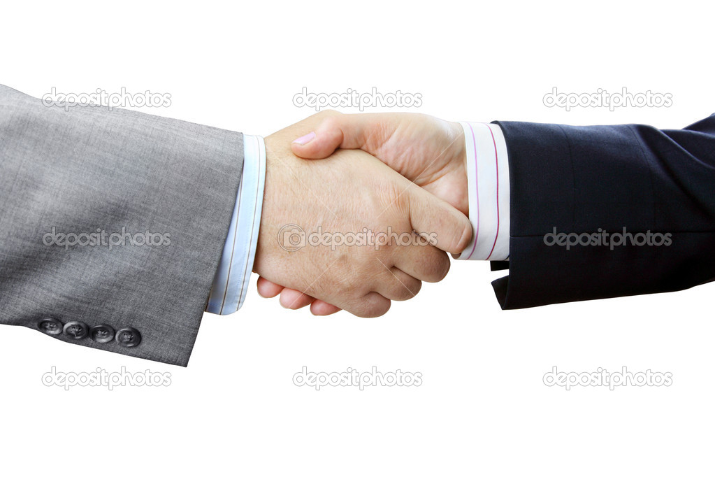 Closeup of Businessmen and Businesswoman Shaking Hands on White Background — Stock Photo #11897900
