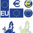 European Union collection including flag - Stock Vector