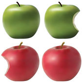 Photo realistic apples set. — Stock Vector