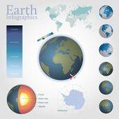 Infografía de tierra incluyendo mapamundi editable — Vector de stock