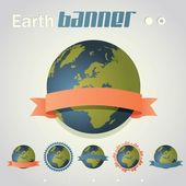 Planet Earth with ribbon banner around it. — Vector de stock