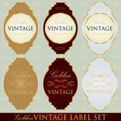 Golden vintage label set — Vector de stock