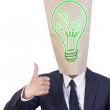 Stock Photo: Businessmcover head love green energy